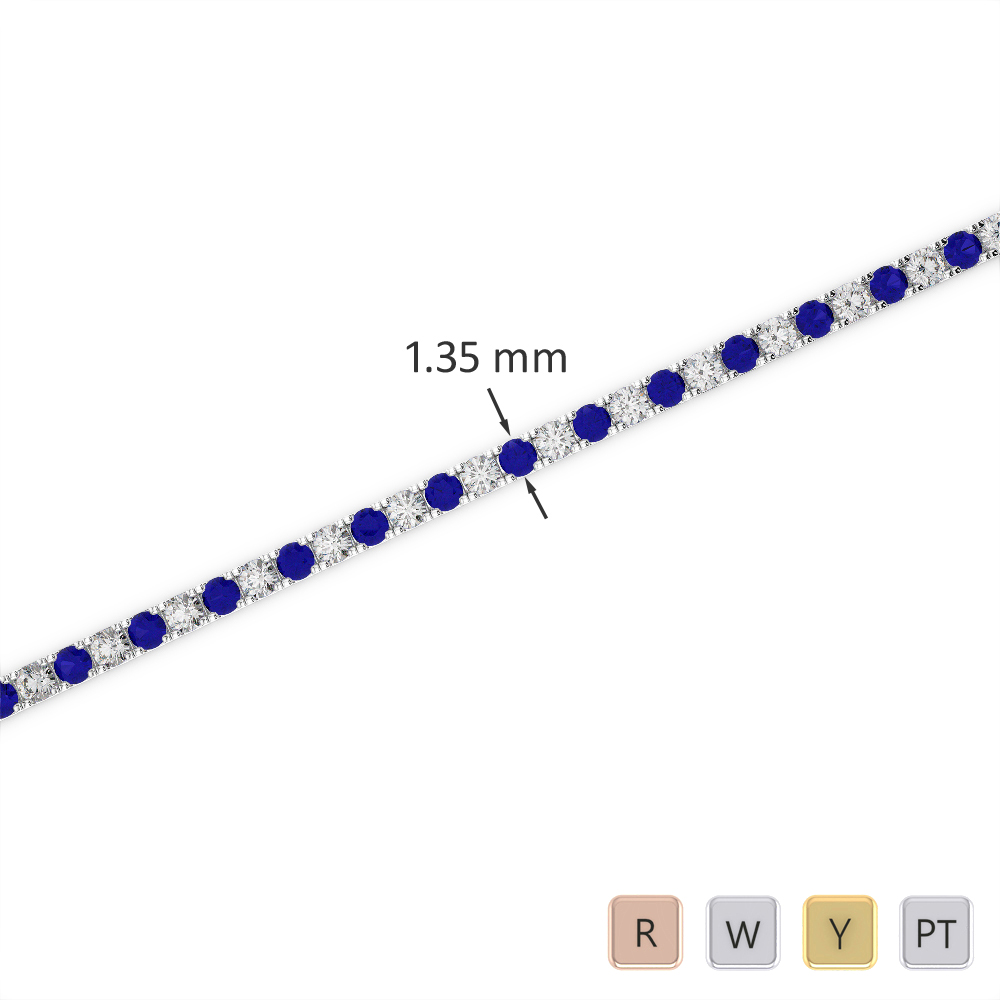 Gold / Platinum Round Cut Sapphire and Diamond Bracelet AGBRL-1012