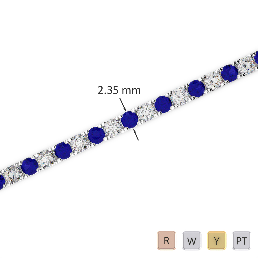 Gold / Platinum Round Cut Sapphire and Diamond Bracelet AGBRL-1015