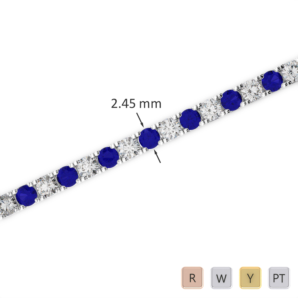 Gold / Platinum Round Cut Sapphire and Diamond Bracelet AGBRL-1016