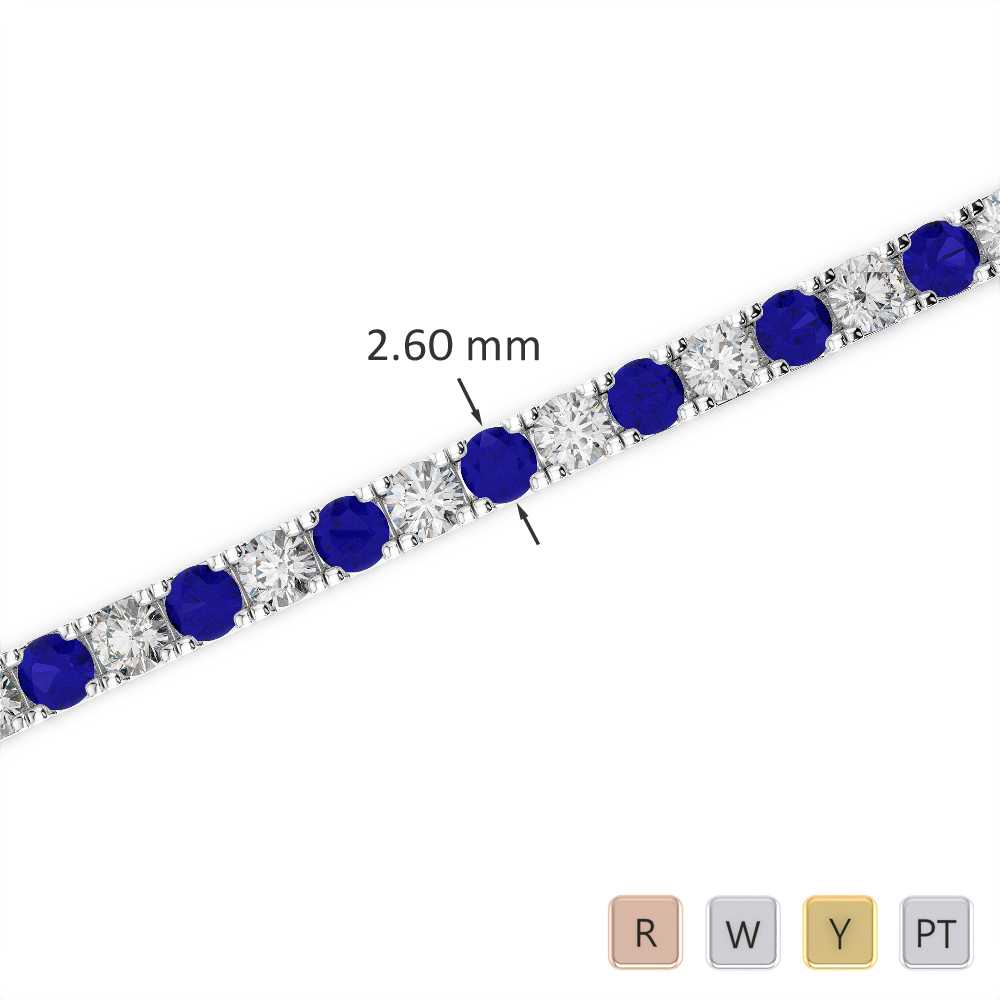 Gold / Platinum Round Cut Sapphire and Diamond Bracelet AGBRL-1017