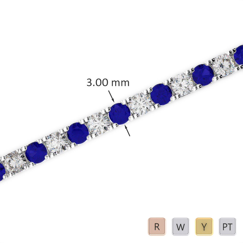 Gold / Platinum Round Cut Sapphire and Diamond Bracelet AGBRL-1019