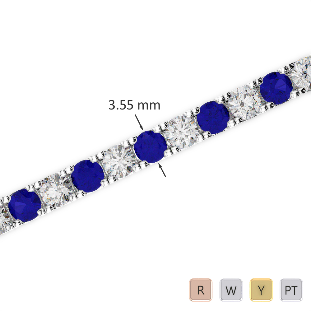 Gold / Platinum Round Cut Sapphire and Diamond Bracelet AGBRL-1020