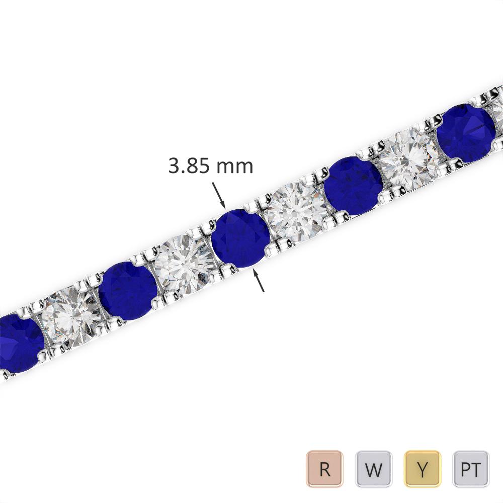 Gold / Platinum Round Cut Sapphire and Diamond Bracelet AGBRL-1021
