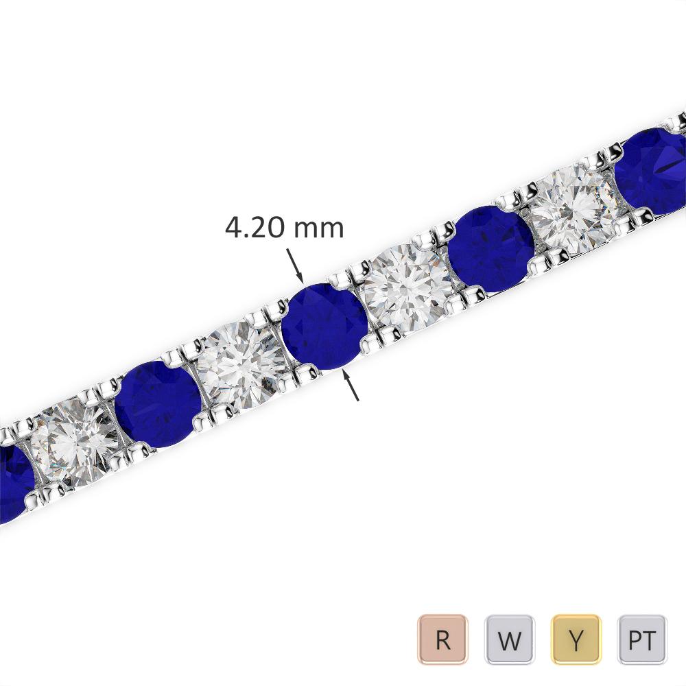 Gold / Platinum Round Cut Sapphire and Diamond Bracelet AGBRL-1022