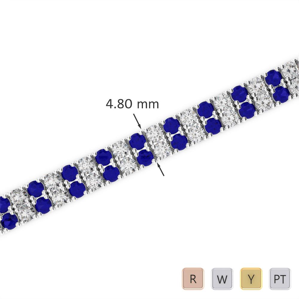 Gold / Platinum Round Cut Sapphire and Diamond Bracelet AGBRL-1033