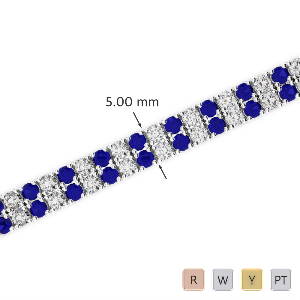 Gold / Platinum Round Cut Sapphire and Diamond Bracelet AGBRL-1034