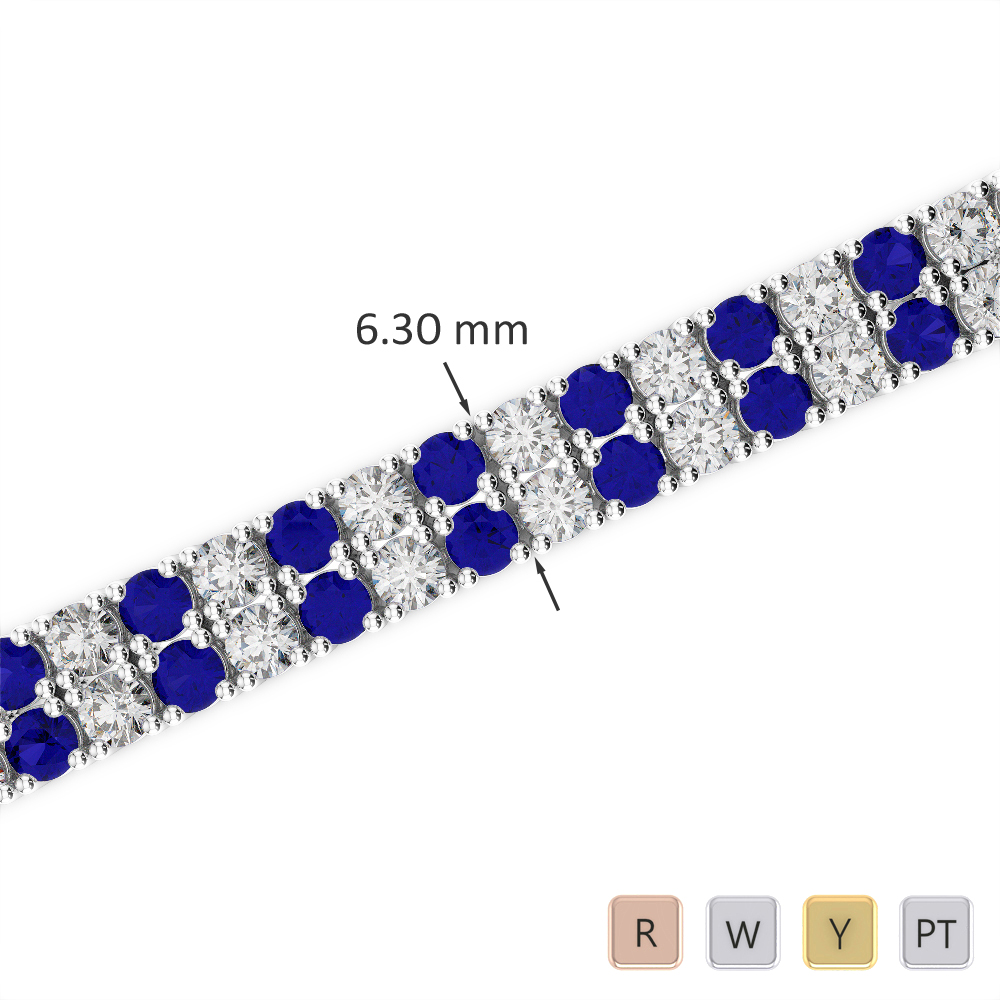 Gold / Platinum Round Cut Sapphire and Diamond Bracelet AGBRL-1037