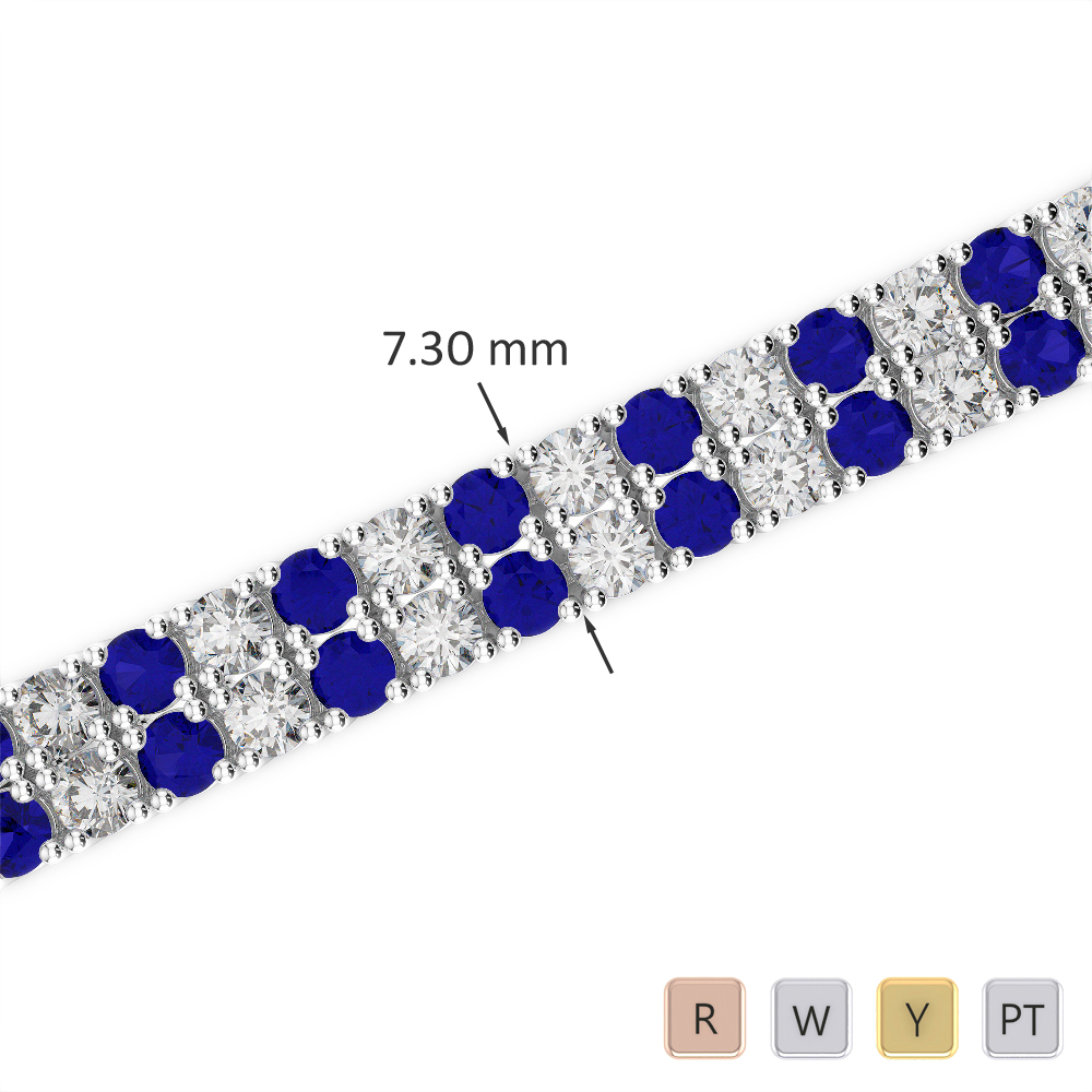 Gold / Platinum Round Cut Sapphire and Diamond Bracelet AGBRL-1038