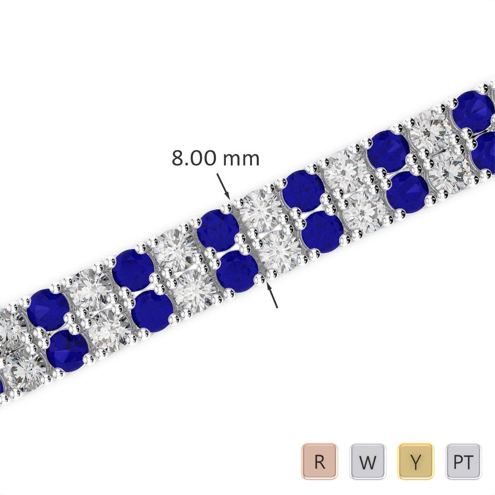 Gold / Platinum Round Cut Sapphire and Diamond Bracelet AGBRL-1039