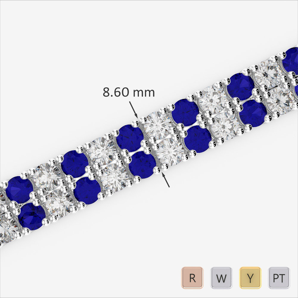 Gold / Platinum Round Cut Sapphire and Diamond Bracelet AGBRL-1040