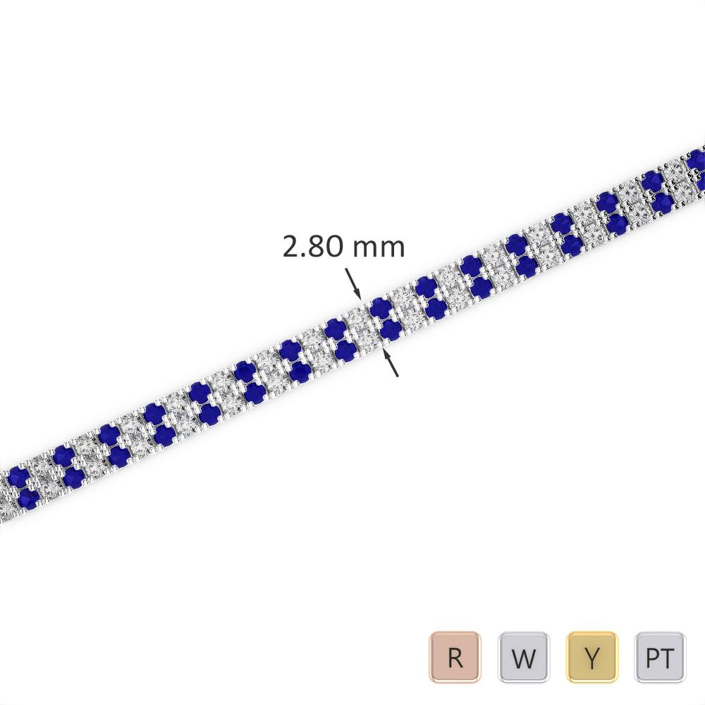 Gold / Platinum Round Cut Sapphire and Diamond Bracelet AGBRL-1041