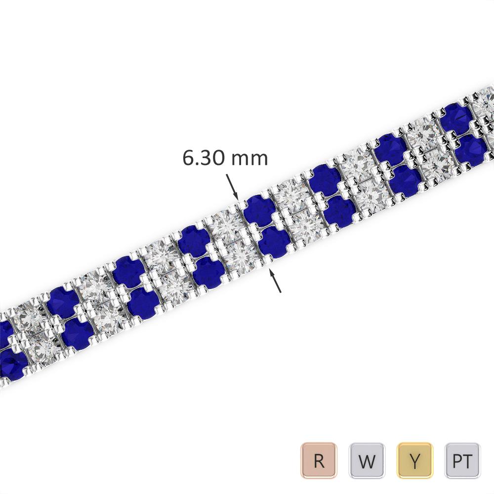 Gold / Platinum Round Cut Sapphire and Diamond Bracelet AGBRL-1048