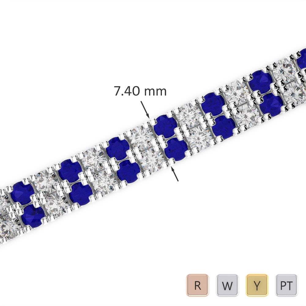 Gold / Platinum Round Cut Sapphire and Diamond Bracelet AGBRL-1049
