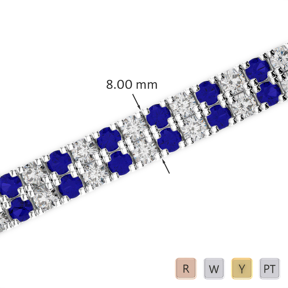 Gold / Platinum Round Cut Sapphire and Diamond Bracelet AGBRL-1050