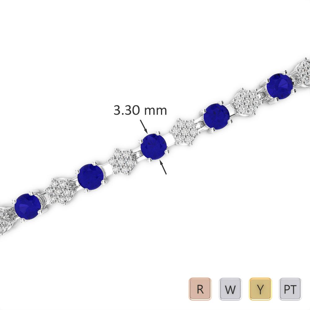 Gold / Platinum Round Cut Sapphire and Diamond Bracelet AGBRL-1052
