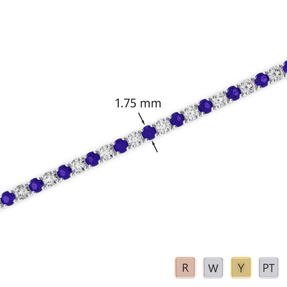 Gold / Platinum Round Cut Tanzanite and Diamond Bracelet AGBRL-1002