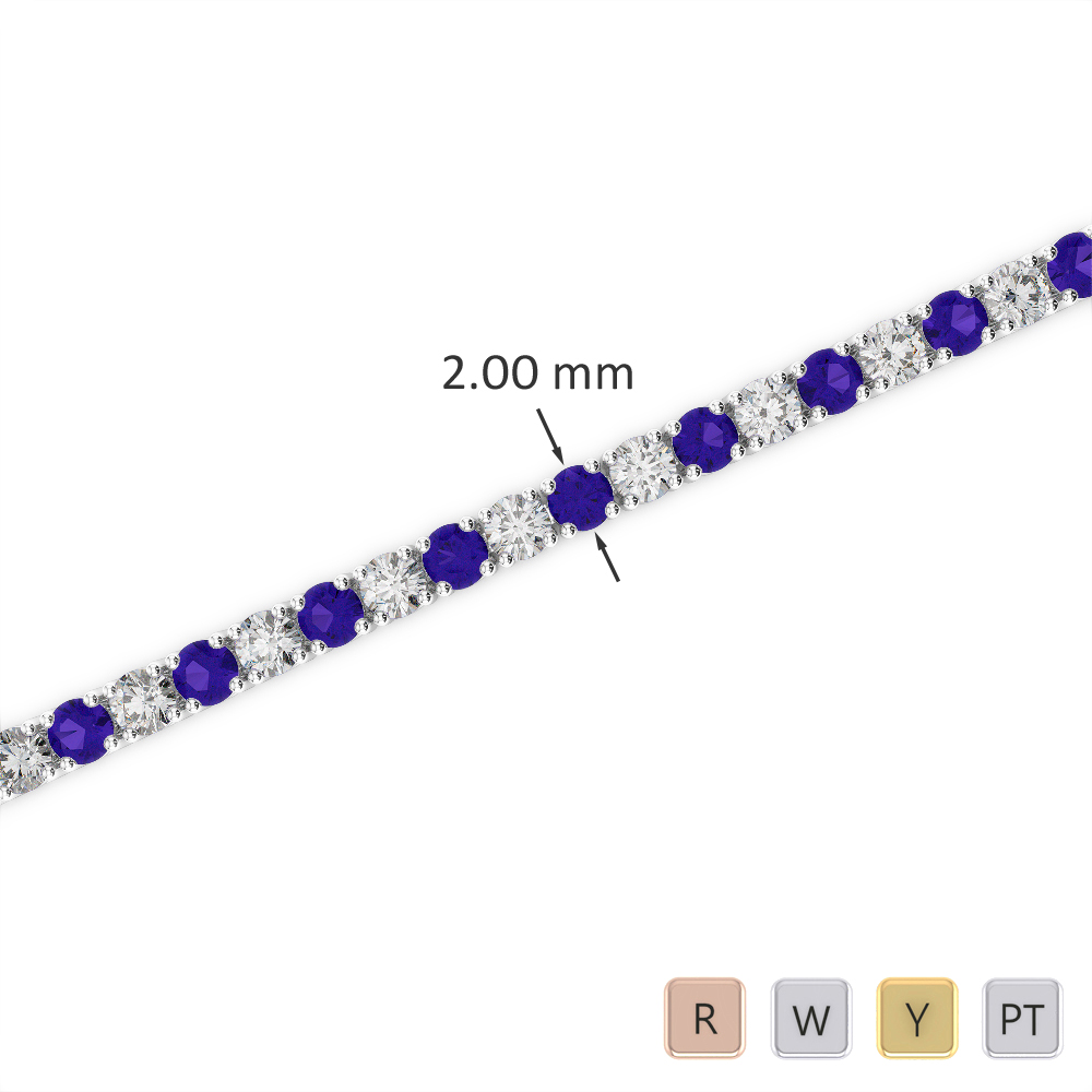Gold / Platinum Round Cut Tanzanite and Diamond Bracelet AGBRL-1003