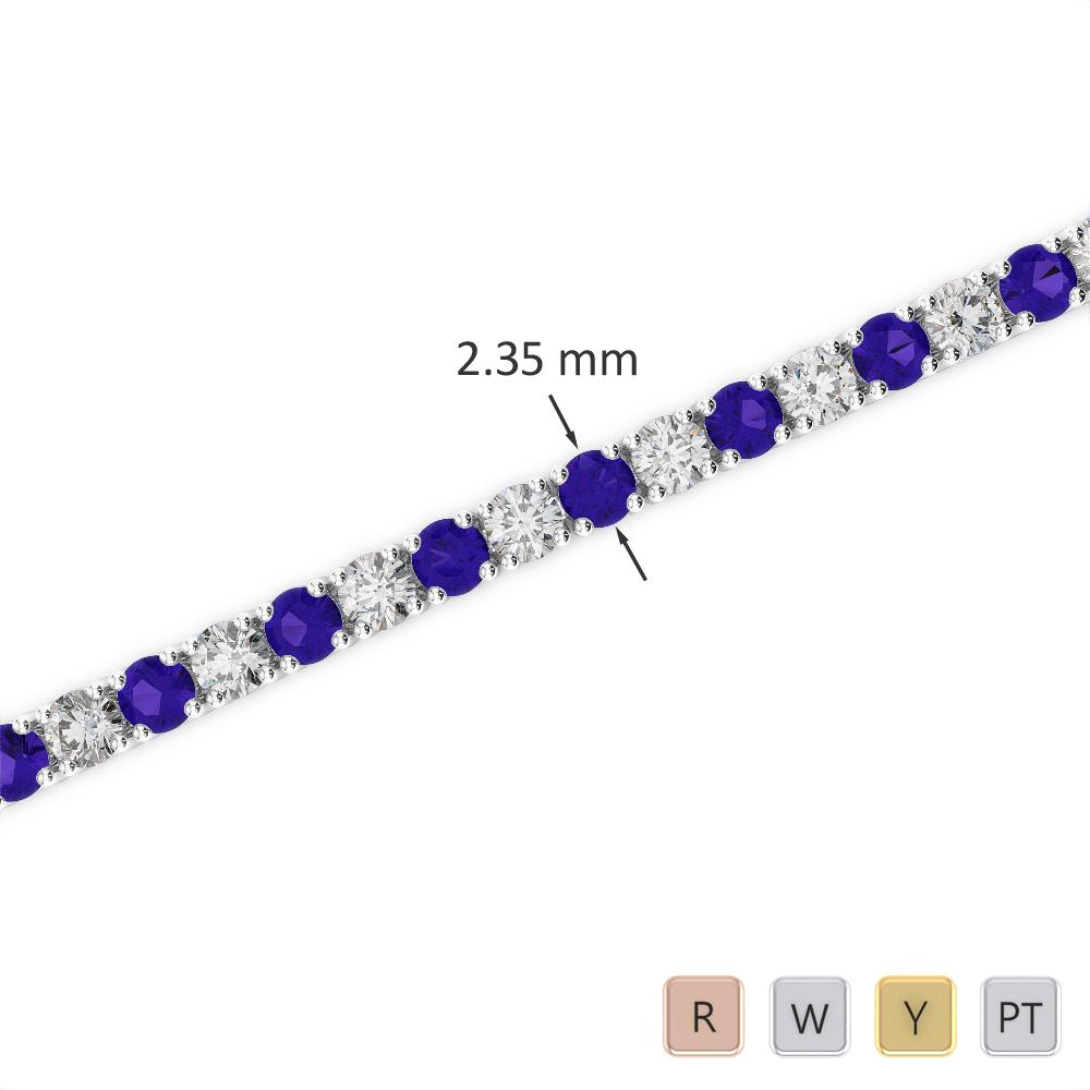 Gold / Platinum Round Cut Tanzanite and Diamond Bracelet AGBRL-1005
