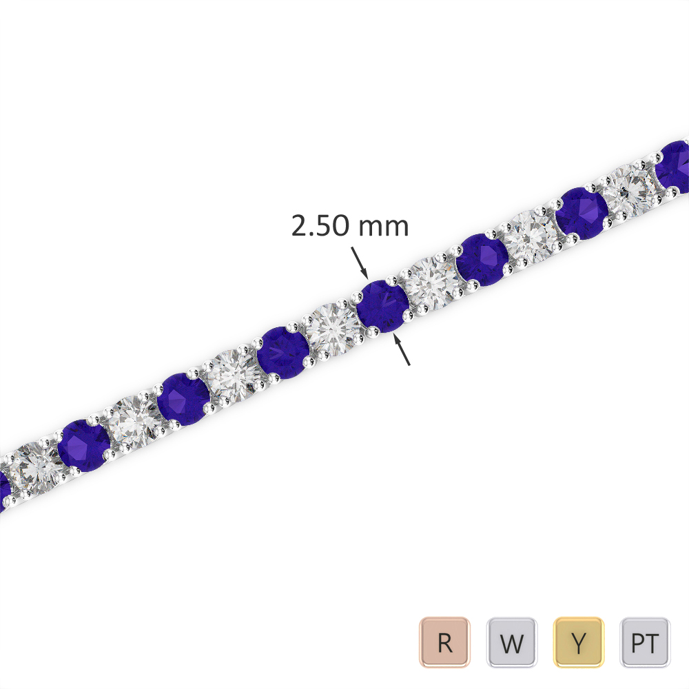 Gold / Platinum Round Cut Tanzanite and Diamond Bracelet AGBRL-1006