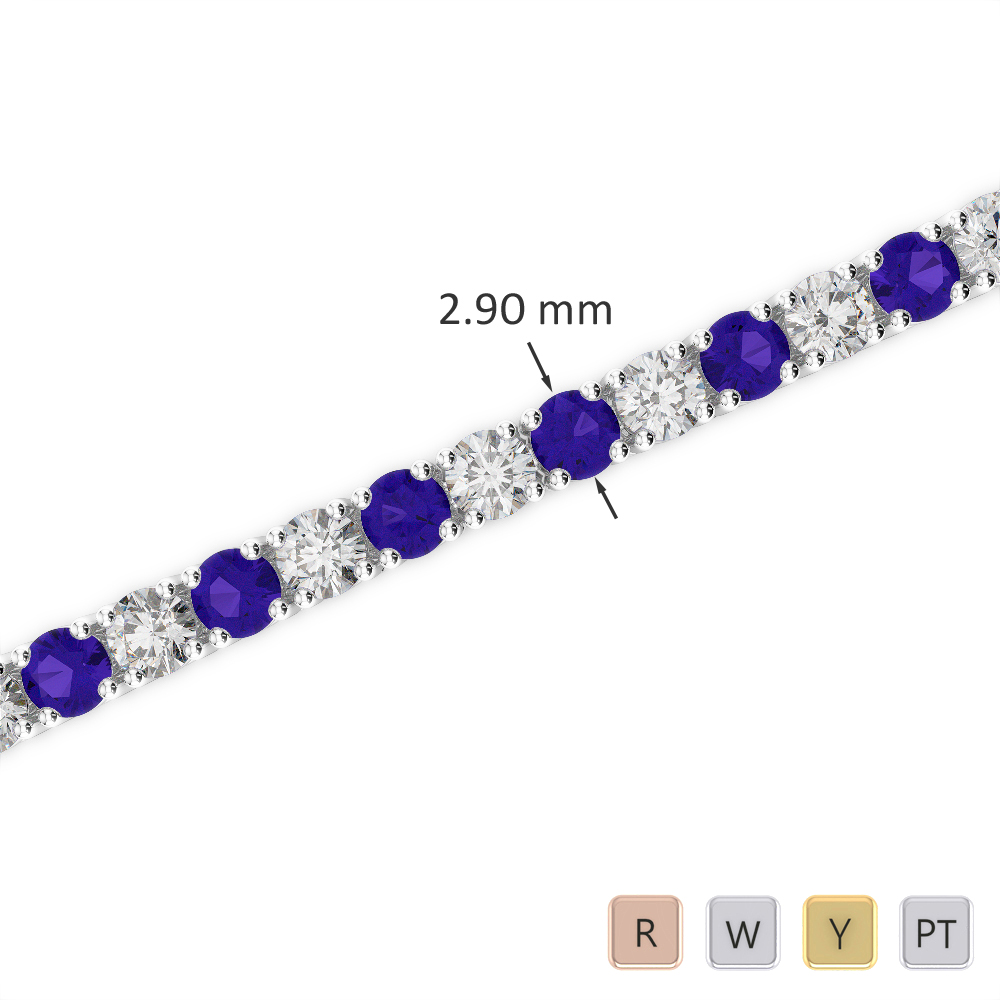 Gold / Platinum Round Cut Tanzanite and Diamond Bracelet AGBRL-1008