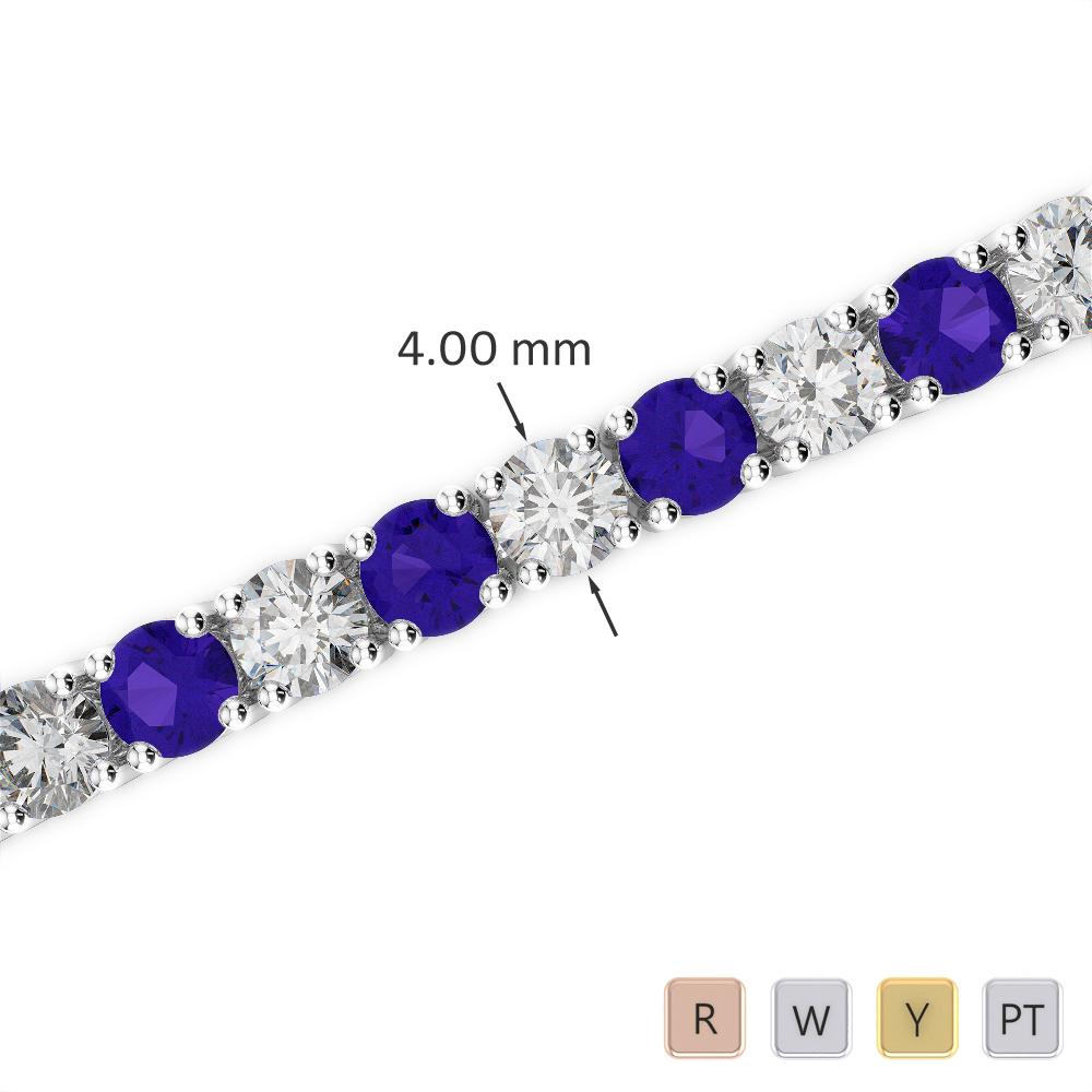 Gold / Platinum Round Cut Tanzanite and Diamond Bracelet AGBRL-1011