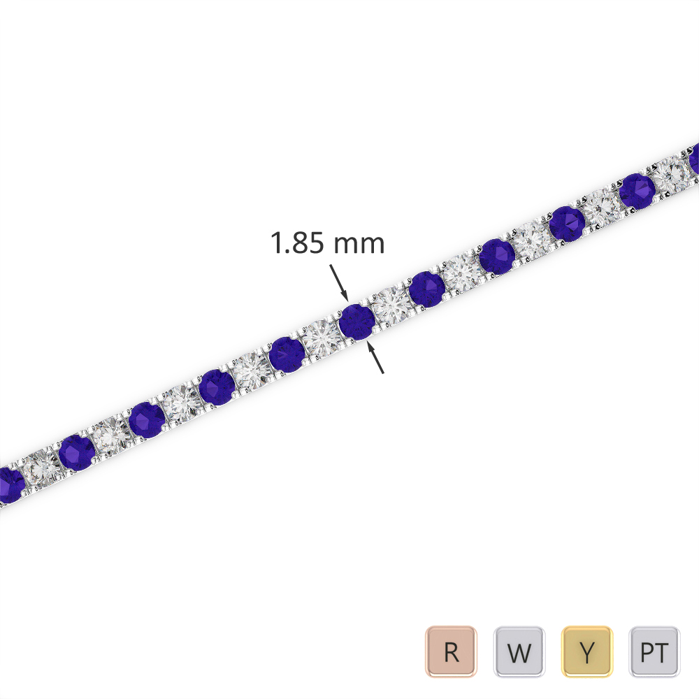Gold / Platinum Round Cut Tanzanite and Diamond Bracelet AGBRL-1013