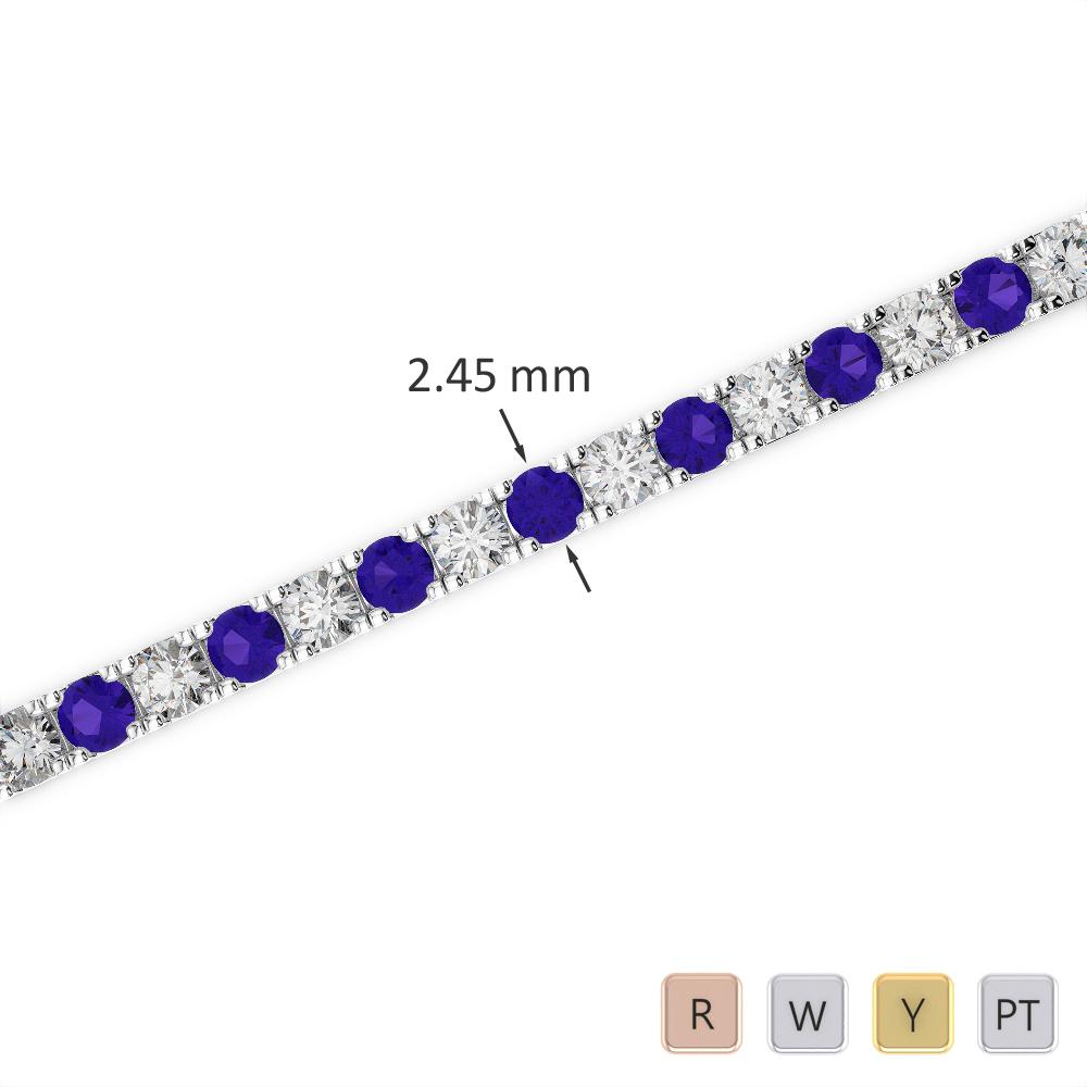Gold / Platinum Round Cut Tanzanite and Diamond Bracelet AGBRL-1016