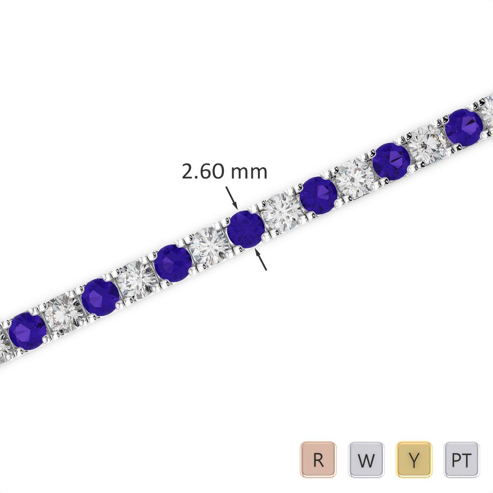 Gold / Platinum Round Cut Tanzanite and Diamond Bracelet AGBRL-1017