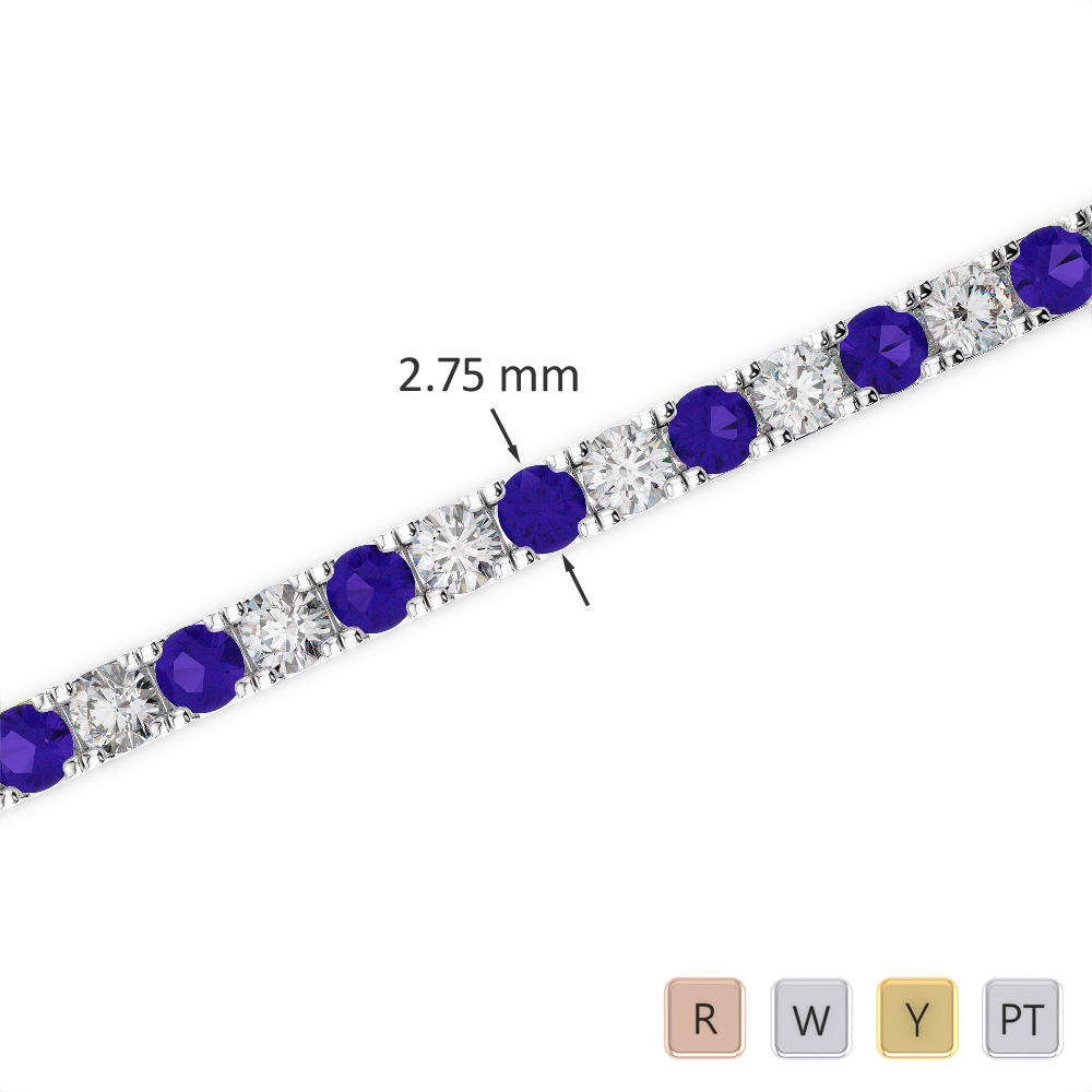 Gold / Platinum Round Cut Tanzanite and Diamond Bracelet AGBRL-1018