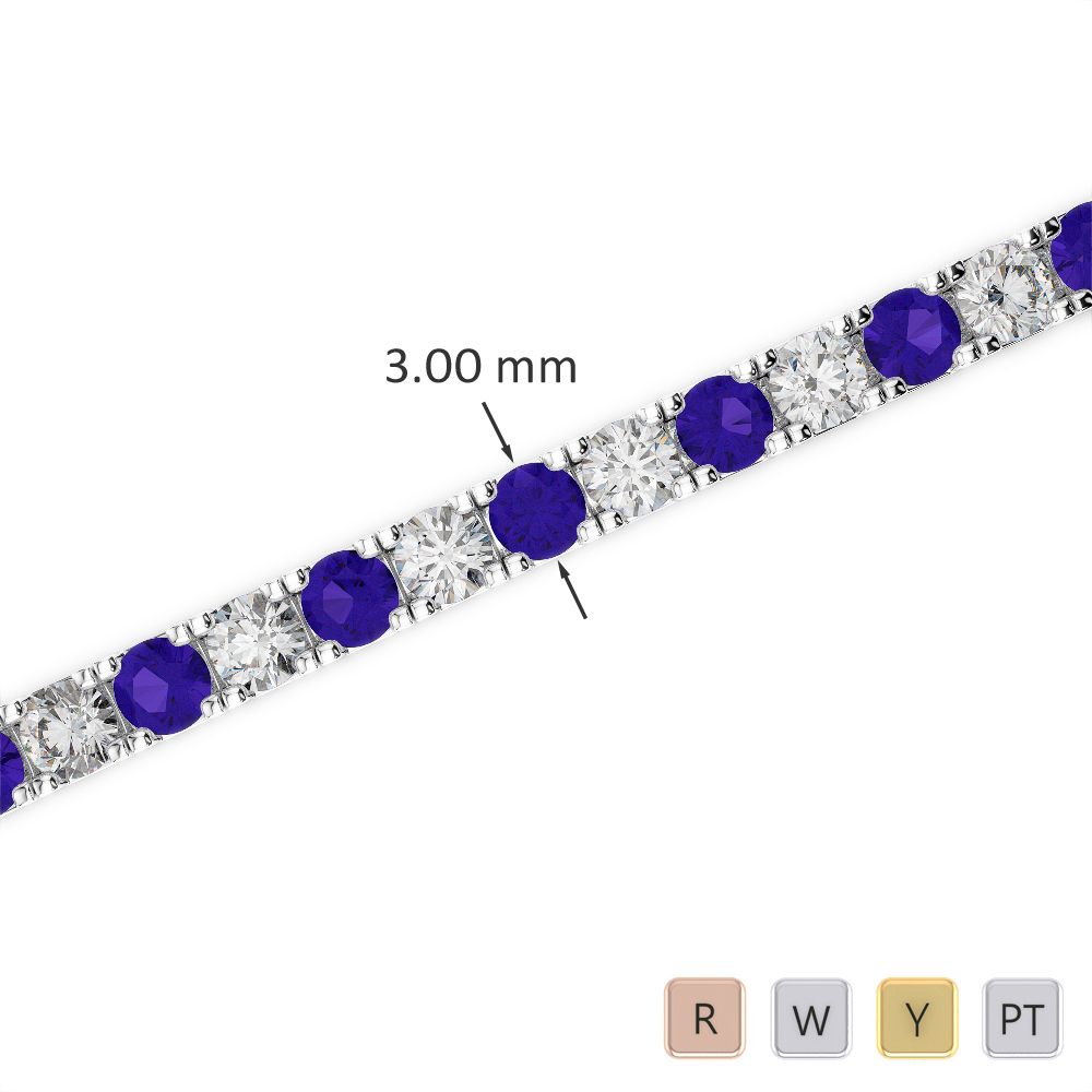 Gold / Platinum Round Cut Tanzanite and Diamond Bracelet AGBRL-1019