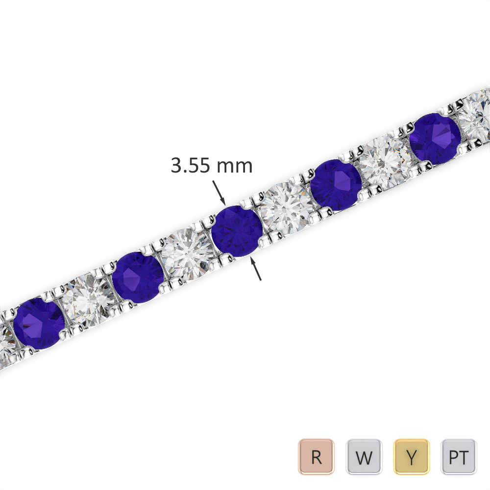 Gold / Platinum Round Cut Tanzanite and Diamond Bracelet AGBRL-1020