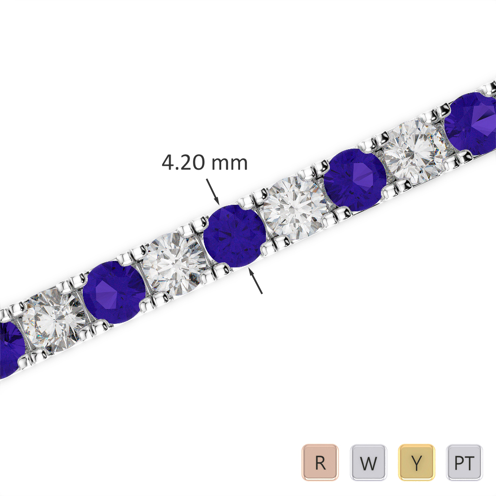 Gold / Platinum Round Cut Tanzanite and Diamond Bracelet AGBRL-1022