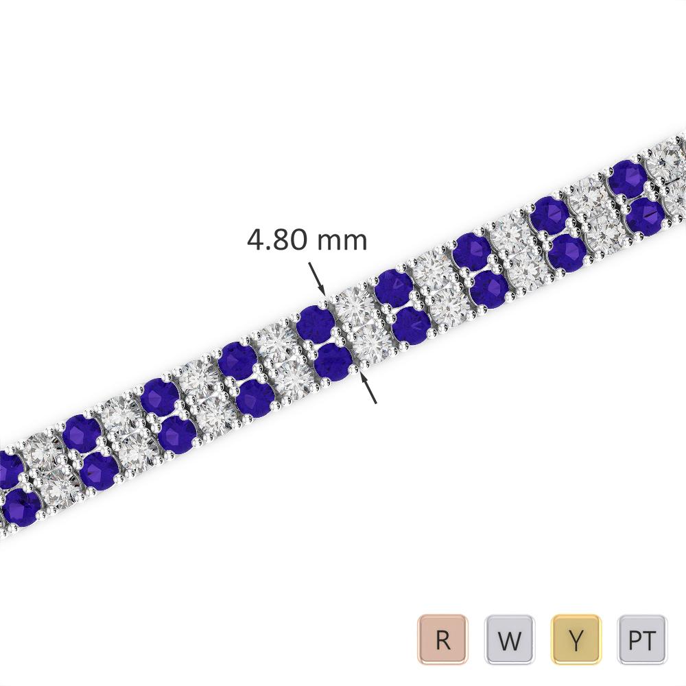 Gold / Platinum Round Cut Tanzanite and Diamond Bracelet AGBRL-1033