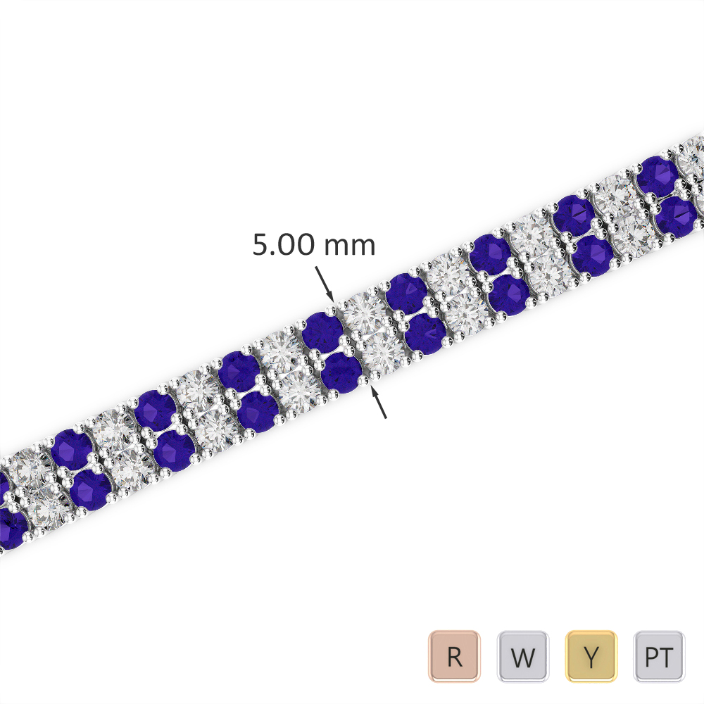 Gold / Platinum Round Cut Tanzanite and Diamond Bracelet AGBRL-1034