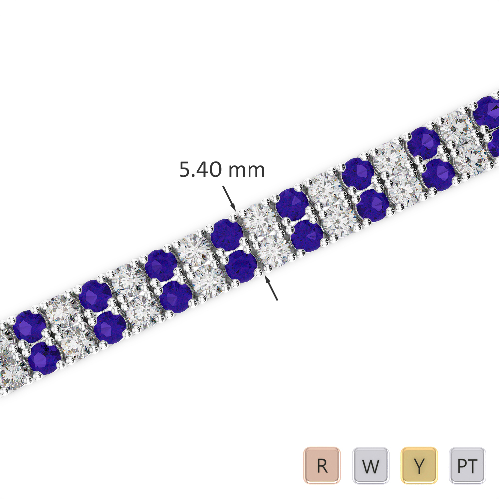 Gold / Platinum Round Cut Tanzanite and Diamond Bracelet AGBRL-1035