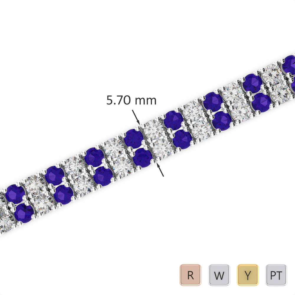 Gold / Platinum Round Cut Tanzanite and Diamond Bracelet AGBRL-1036