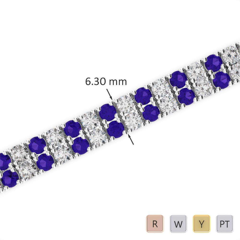 Gold / Platinum Round Cut Tanzanite and Diamond Bracelet AGBRL-1037