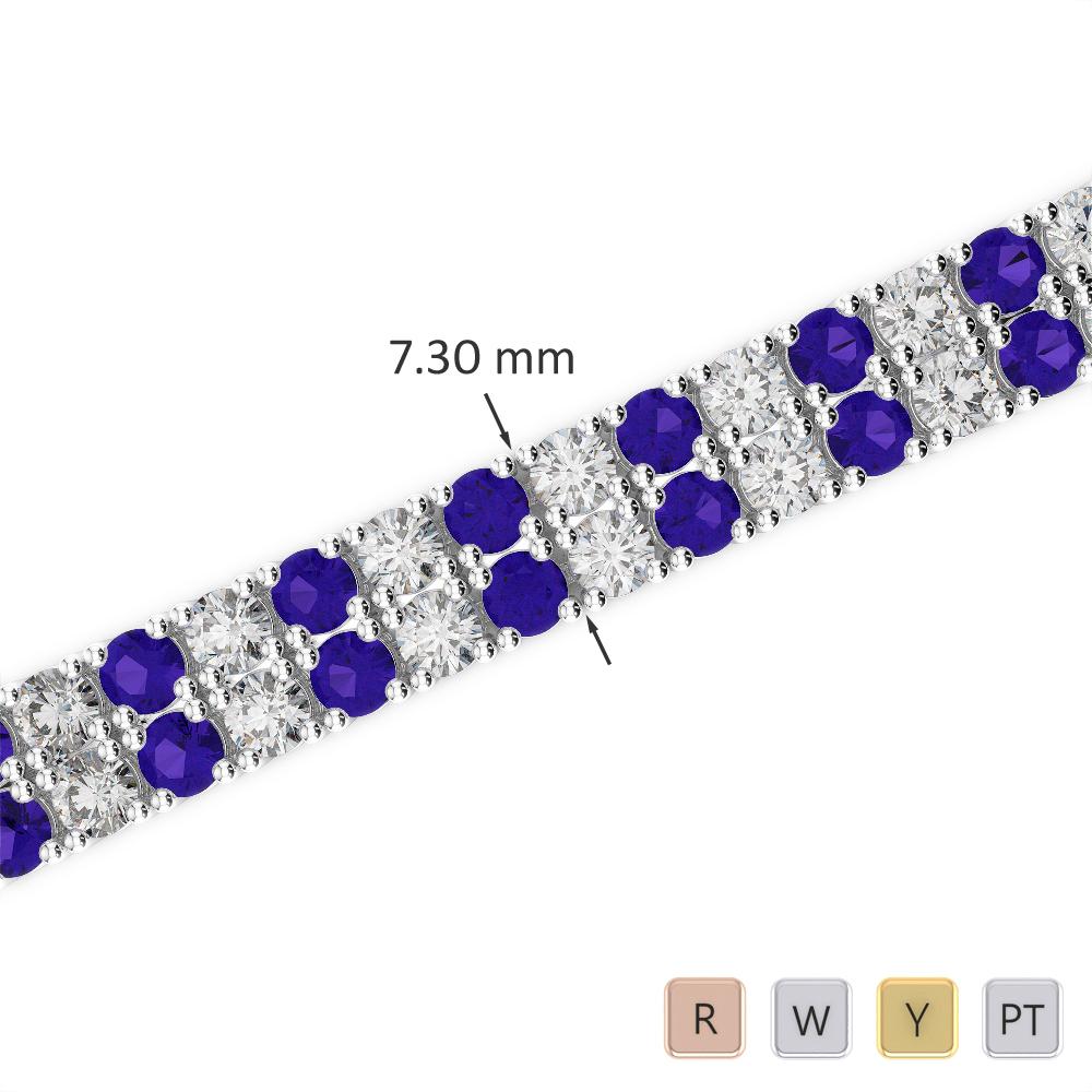 Gold / Platinum Round Cut Tanzanite and Diamond Bracelet AGBRL-1038