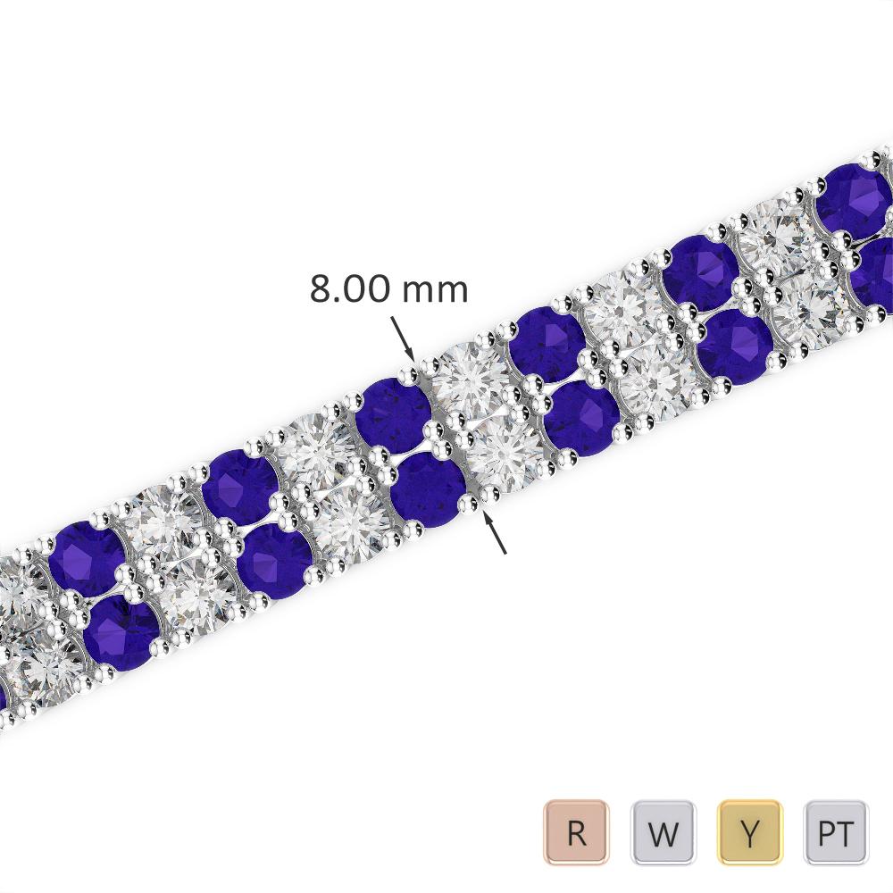 Gold / Platinum Round Cut Tanzanite and Diamond Bracelet AGBRL-1039