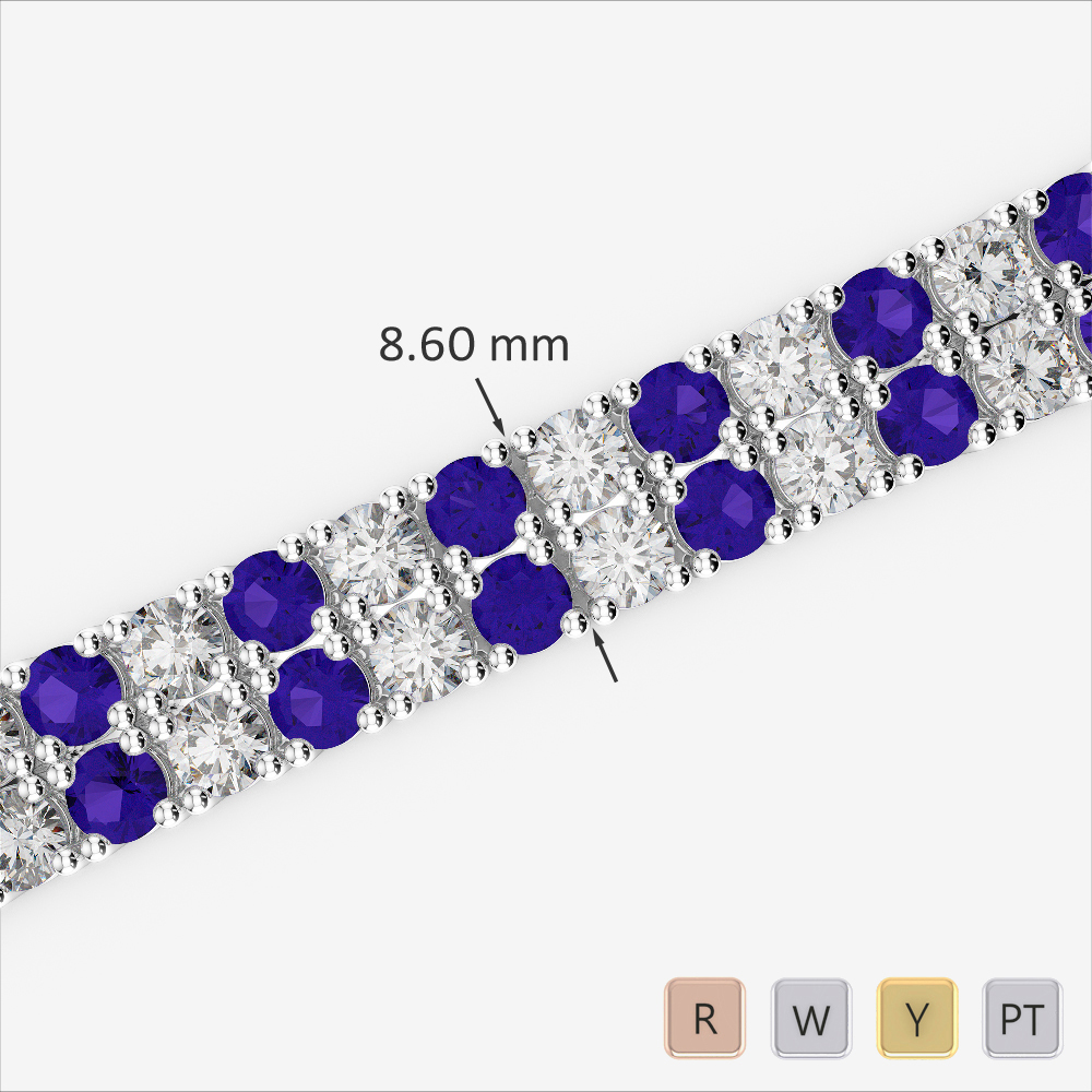 Gold / Platinum Round Cut Tanzanite and Diamond Bracelet AGBRL-1040