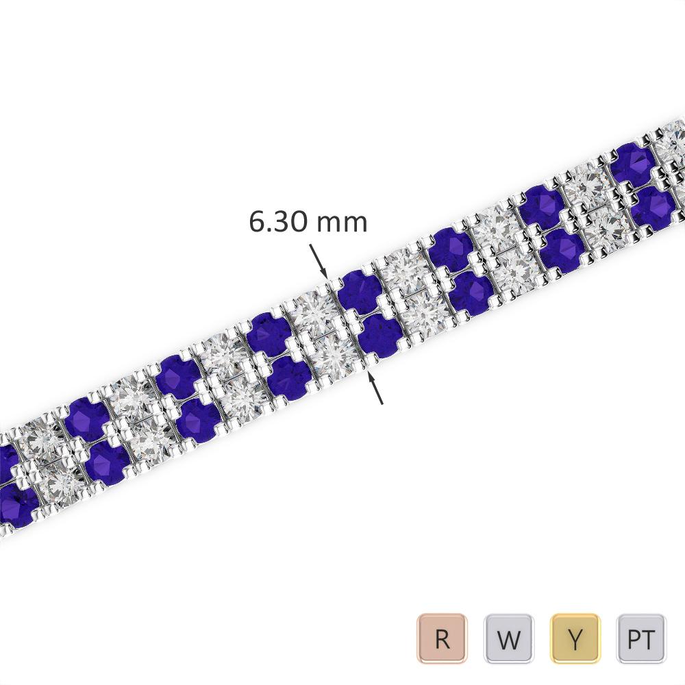 Gold / Platinum Round Cut Tanzanite and Diamond Bracelet AGBRL-1048