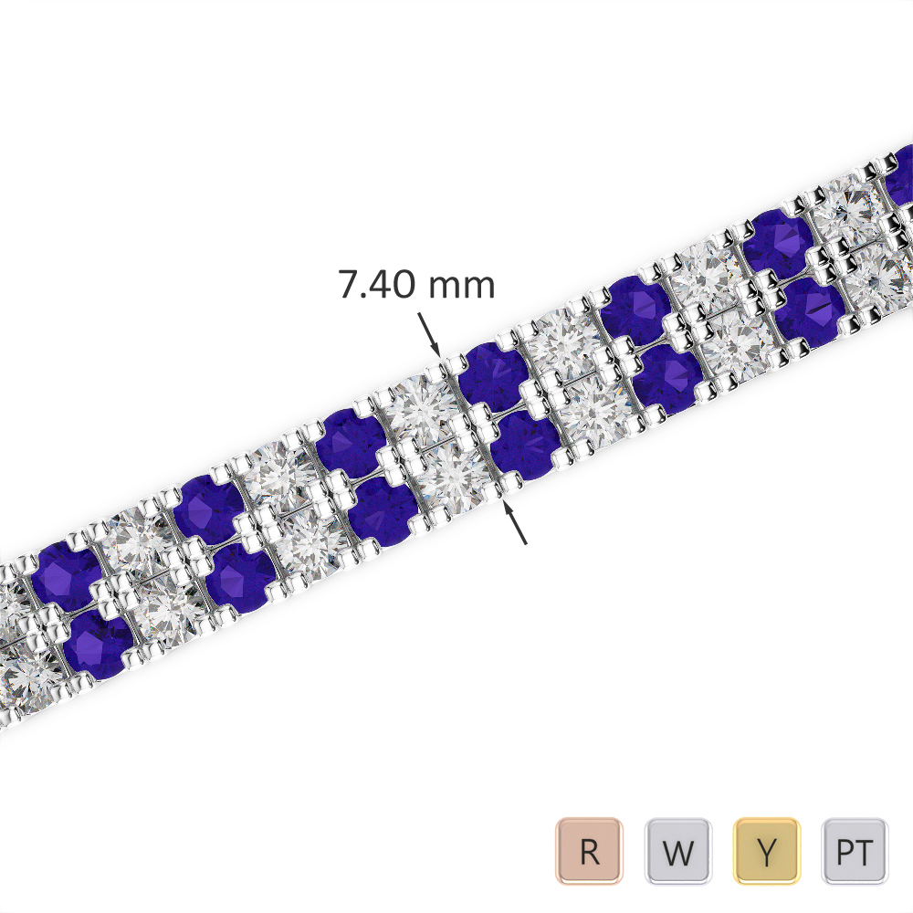 Gold / Platinum Round Cut Tanzanite and Diamond Bracelet AGBRL-1049