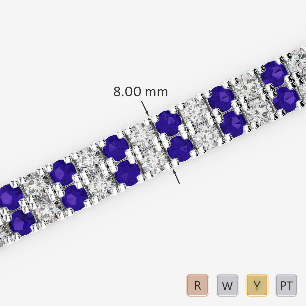 Gold / Platinum Round Cut Tanzanite and Diamond Bracelet AGBRL-1050