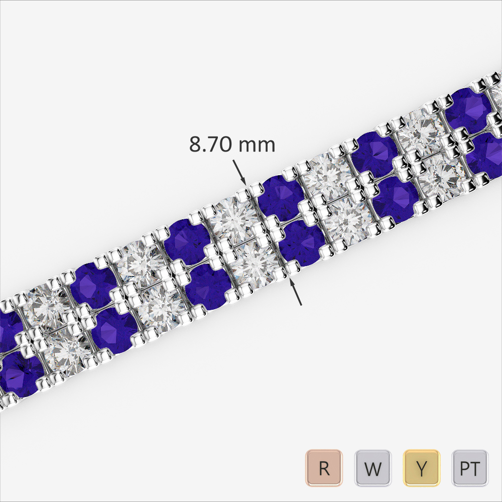 Gold / Platinum Round Cut Tanzanite and Diamond Bracelet AGBRL-1051