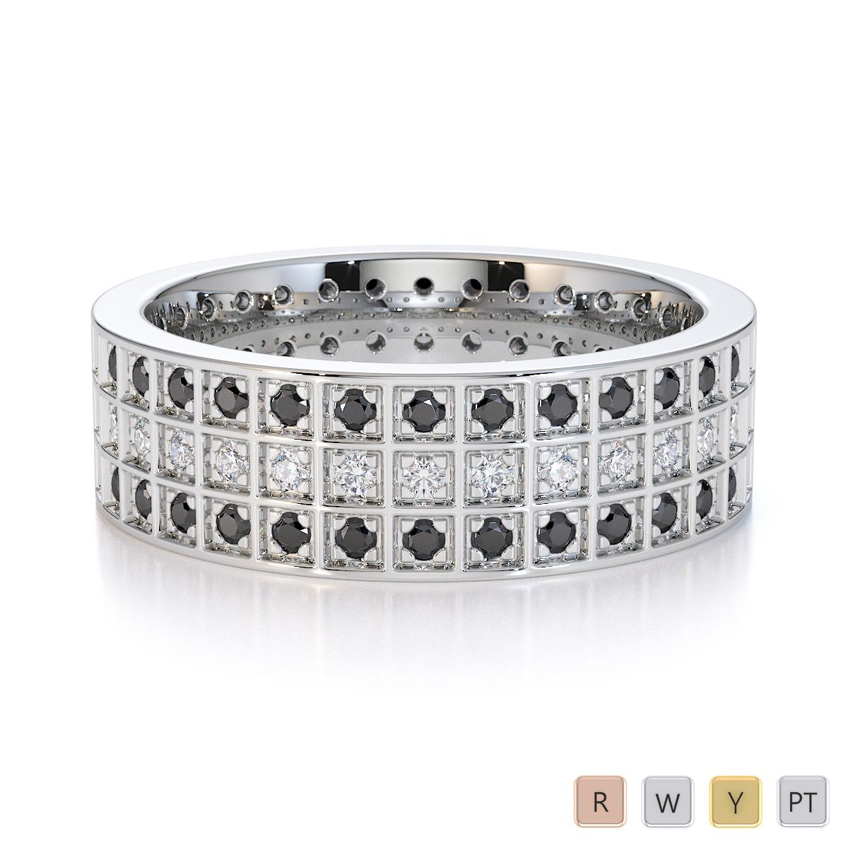 Gold / Platinum Black Diamond with Diamond Full Eternity Ring RZ1512
