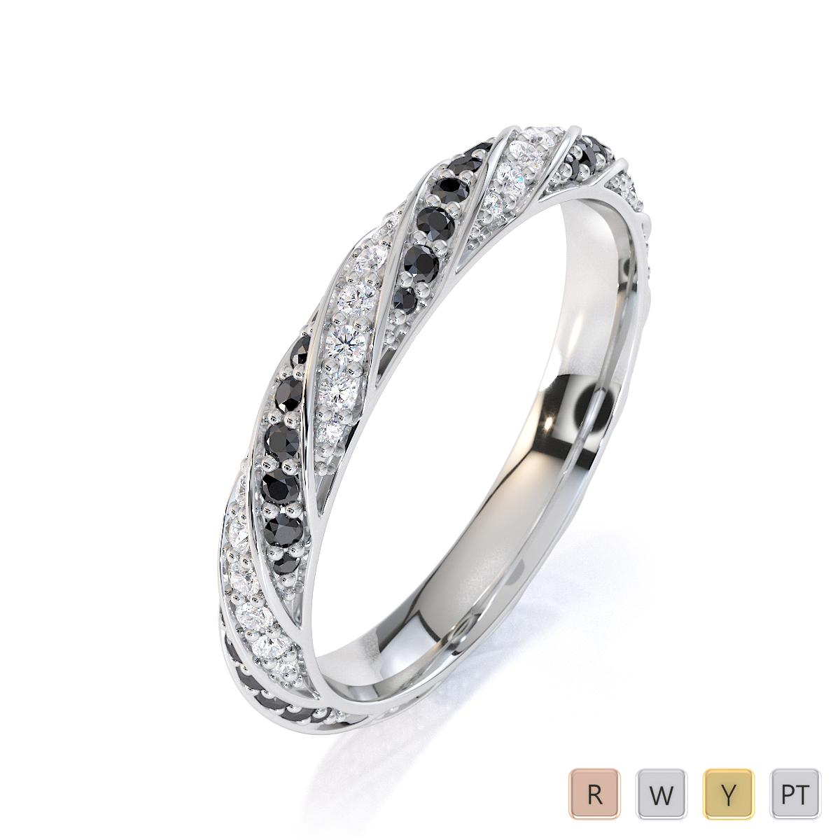 Gold / Platinum Black Diamond with Diamond Full Eternity Ring RZ1528