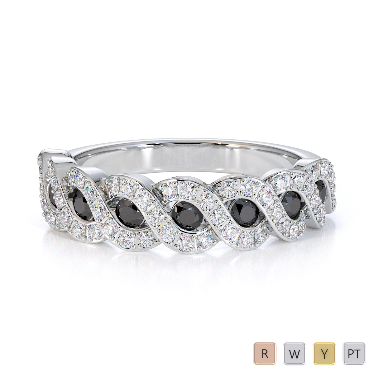 Gold / Platinum Black Diamond with Diamond Half Eternity Ring RZ1533