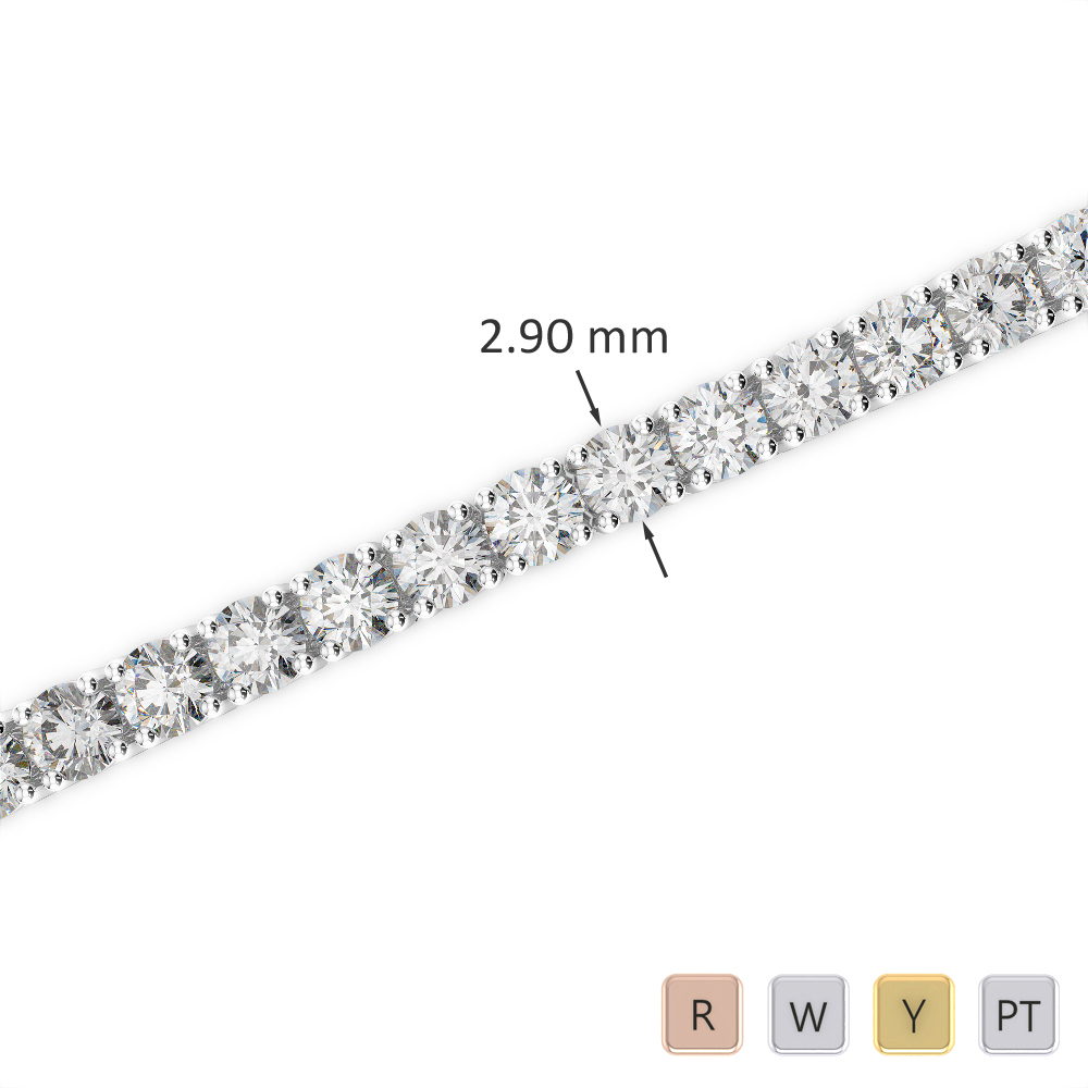 Gold / Platinum Round Cut Diamond Bracelet AGBRL-1008