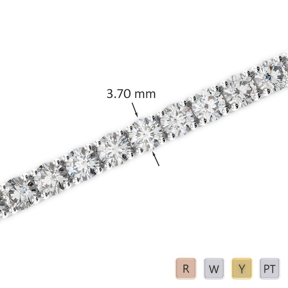 Gold / Platinum Round Cut Diamond Bracelet AGBRL-1010