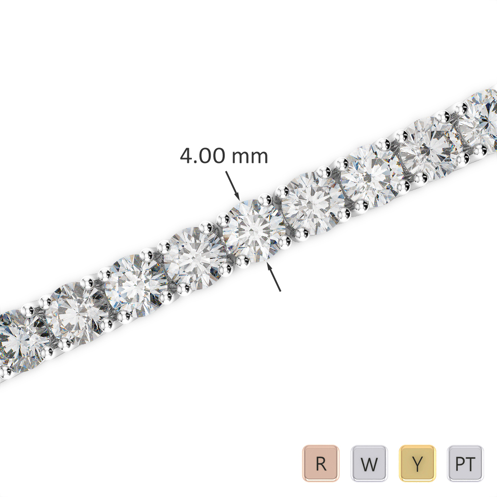 Gold / Platinum Round Cut Diamond Bracelet AGBRL-1011